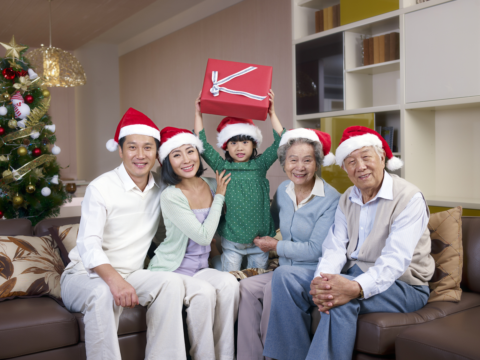 Asian Wealthy Family Celebrating Christmas